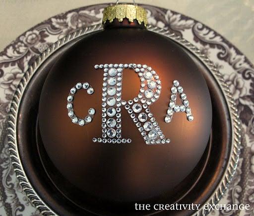 Rhinestone Monogrammed Ornament | Stunningly Easy Homemade Stocking Stuffer Ideas