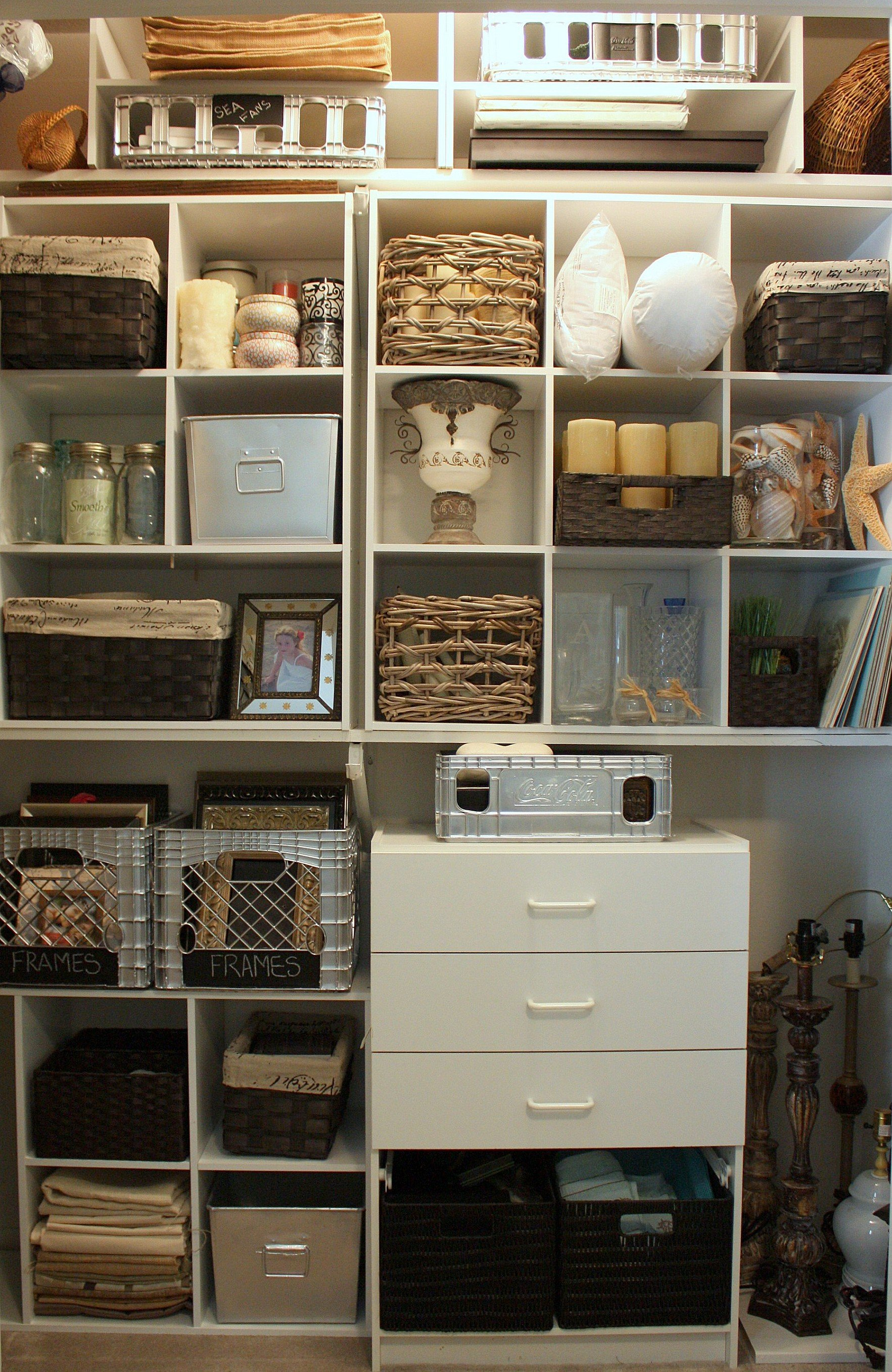 Organizing a junk closet with cube storage units for Organizing ideas for closets