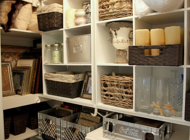 organizing a junk closet with cube storage units. Black Bedroom Furniture Sets. Home Design Ideas