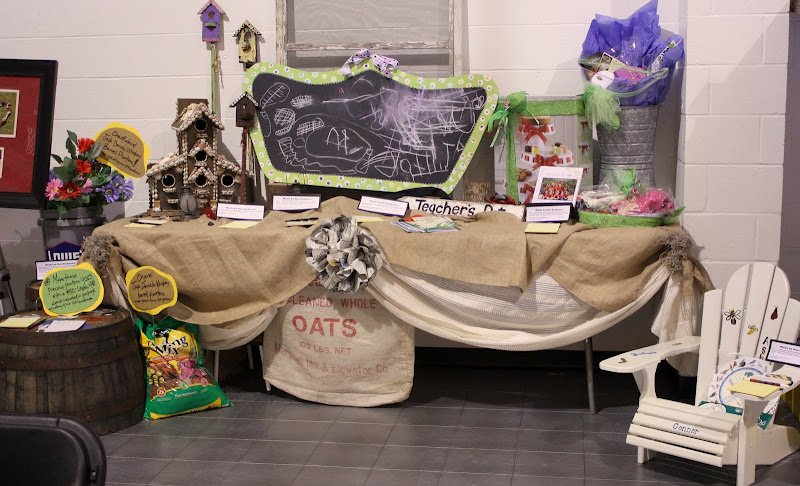 Silent auction table, burlap tablecloth