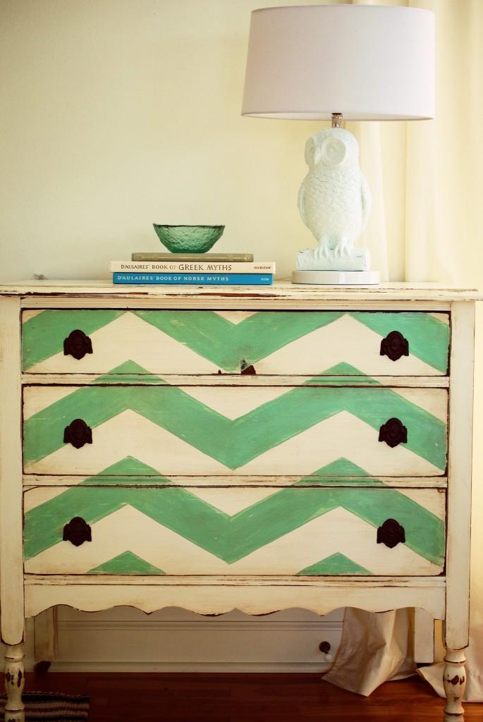Chevron dresser, hand painted dresser, green dresser