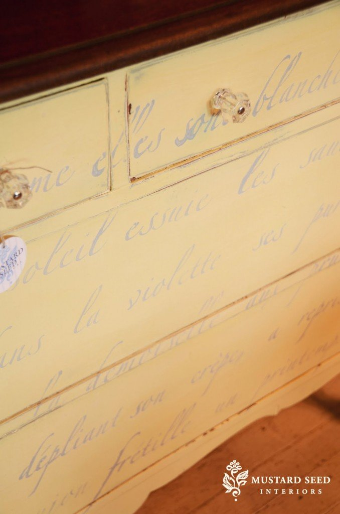 Yellow dresser, hand painted dresser, stenciled dresser