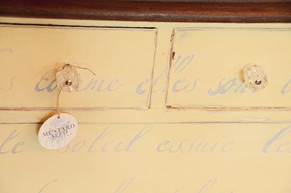 yellow dresser, hand painted dresser, miss mustard seed