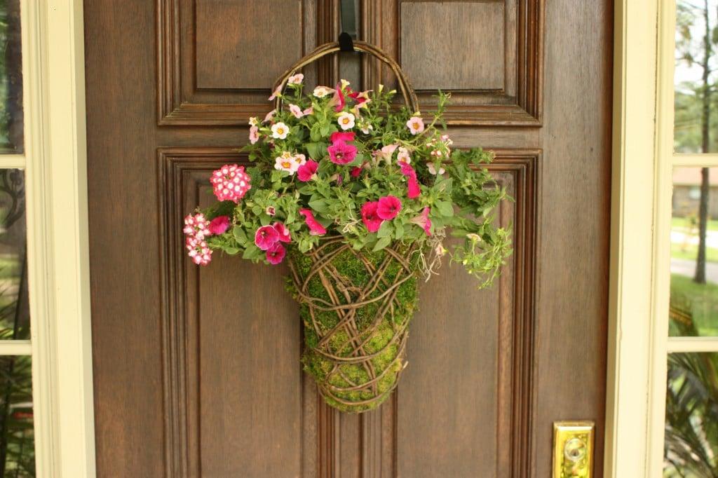 moss basket, front door wreath, front door moss basket