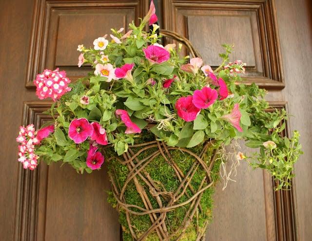 moss basket, flower basket, front door basket