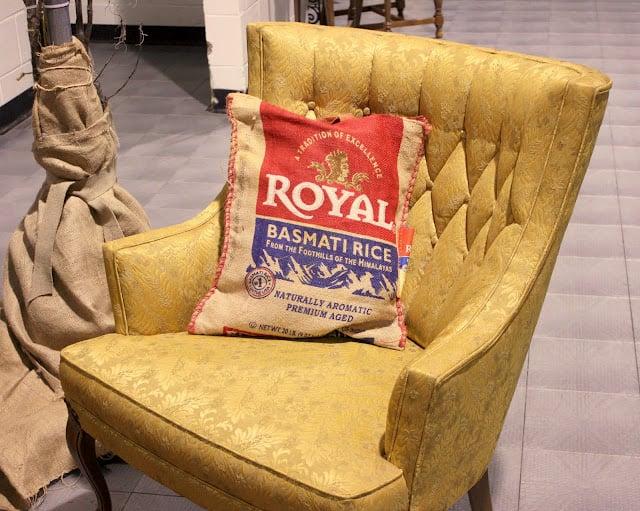 Vintage Chair, vintage rice bag