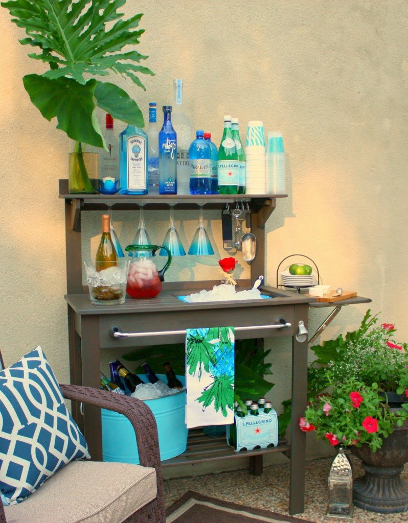 Potting Bench Turned Outdoor Bar, Outdoor Bar, Patio Bar