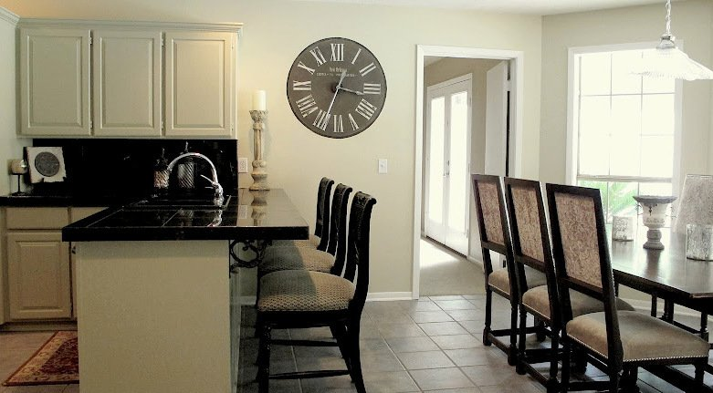 Clock- Kitchen- Hand Painted- Taupe