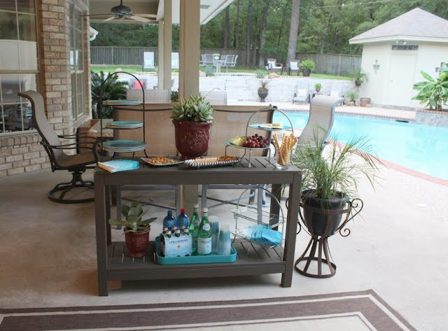 Outdoor- Entertaining - Outdoor Buffet Table Using A Side Table