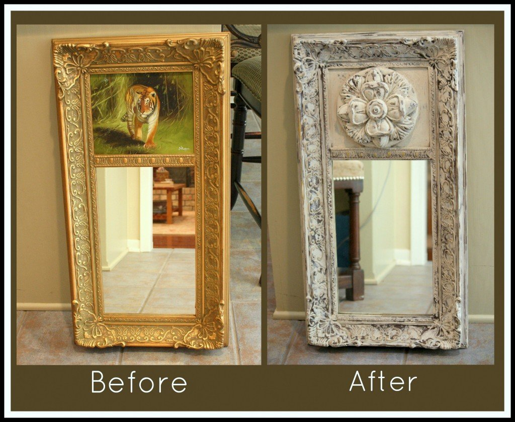 Spray paint wood mirror frame