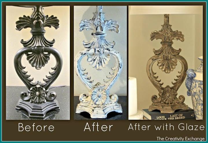 Faux Plaster Paint Technique- The Creativity Exchange- Lamp Revamps