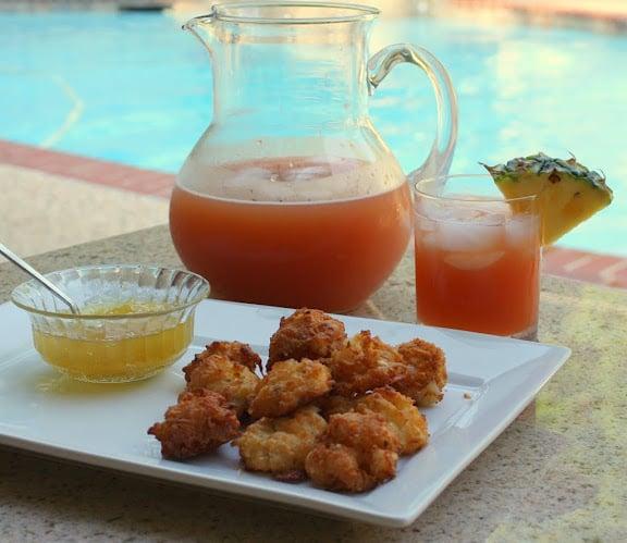 Rum Punch Recipe- Cocktail- Coconut Shrimp Fritter recipe
