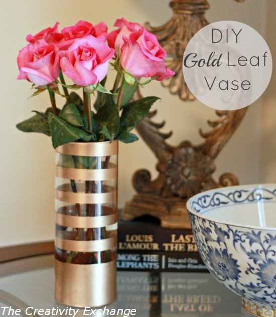 Diy Gold Leaf Vase How To Paint On Glass