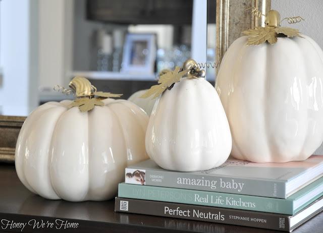 Cream and Gold Pumpkins- Honey We're Home- Fall Decorating
