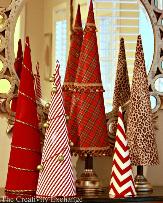 Fabric Covered Tree Cones- Make- Buy- Christmas- How