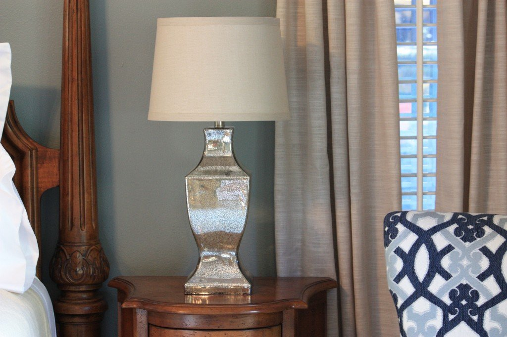 Navy And Gold Bedside Lamps: Master Bedroom Reveal {Room Revamp Of The Month}