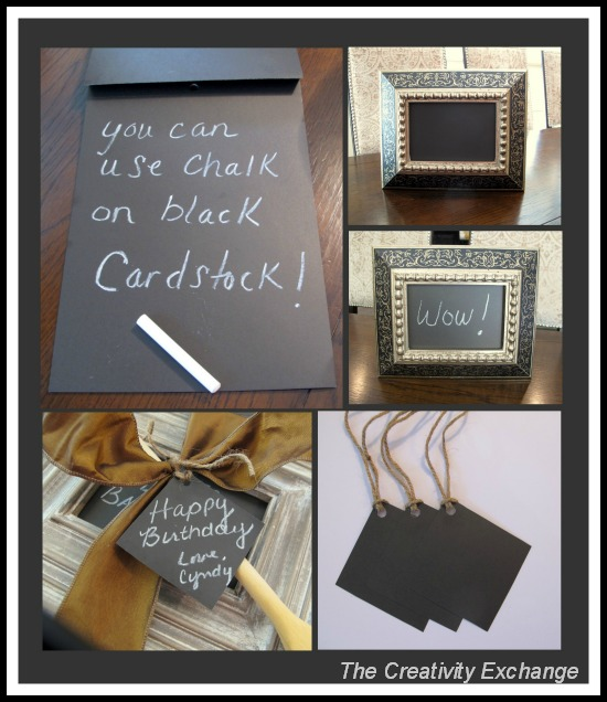 Black Card Stock- Instant Chalkboard- Handmade gift projects- DIY- Craft
