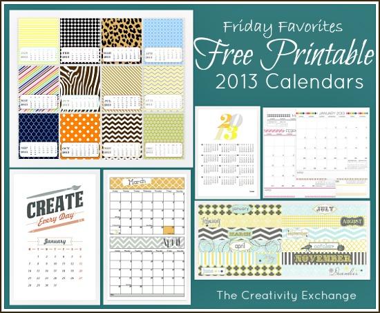Favorite 2013 Free Printable Calendars {Friday Favorites}