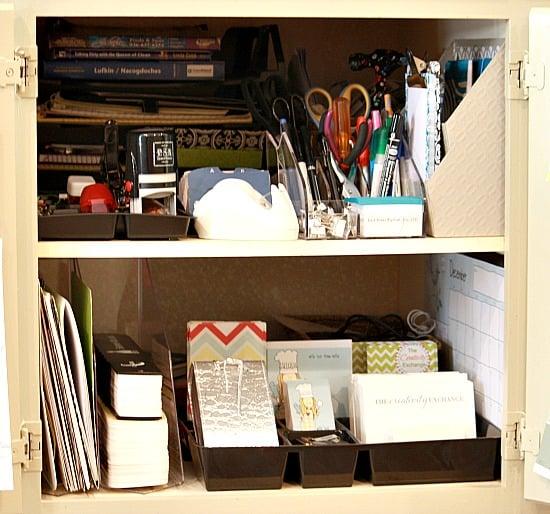Mini Offices For Kitchen: Easy Kitchen Cabinet Mini-Office {Organize}
