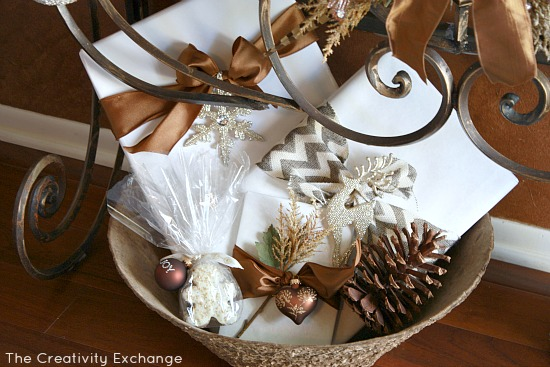White wrapping paper mixed with brown ribbon {The Creativity Exchange}