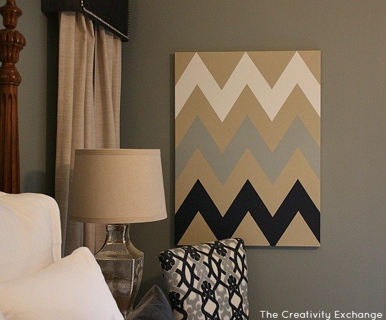 diy multi colored chevron canvas art with printable stencil