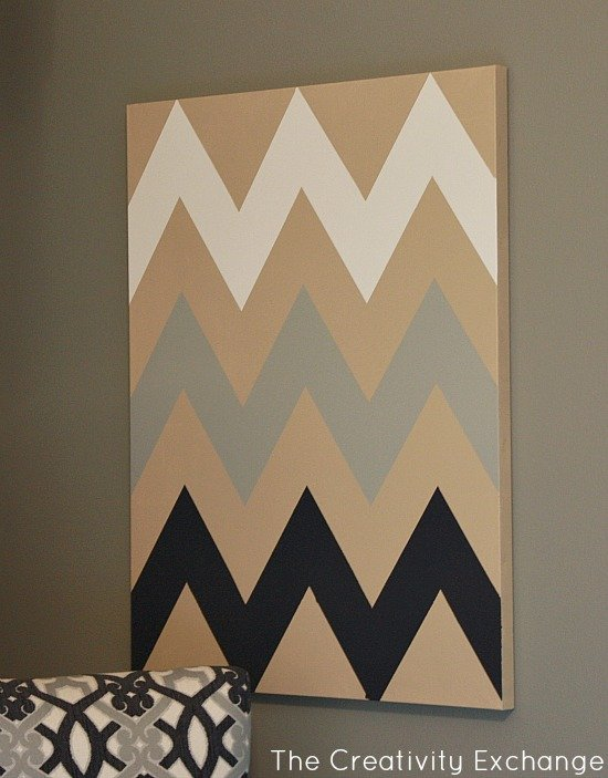 diy multi colored chevron canvas art with printable stencil ForPrintable Stencils For Canvas Painting