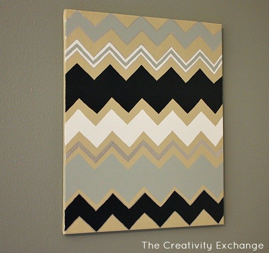 Diy multi colored chevron canvas art with printable stencil for Chevron template for walls