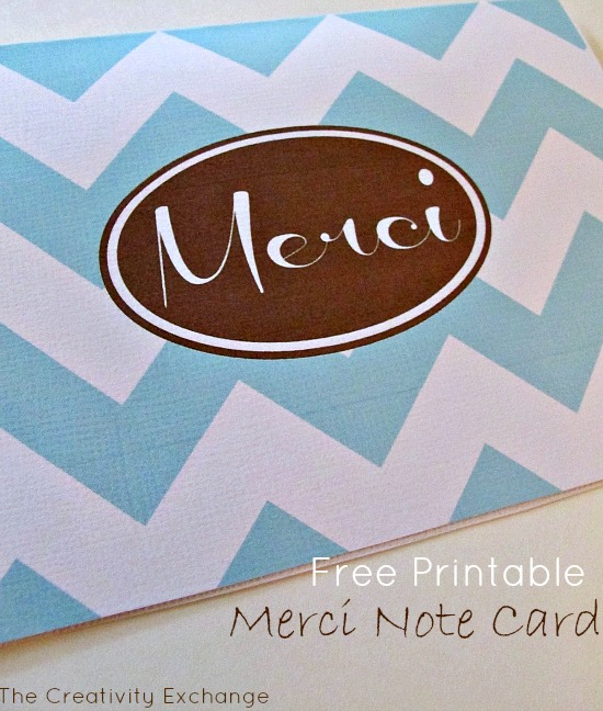 """Printable """"Merci"""" Thank You Note Card {January Free Printable of the Month}"""