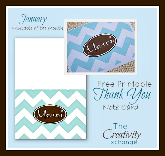 "Free Printable ""Merci"" Thank You Note Card {January Free Printable of the Month} The Creativity Exchange"