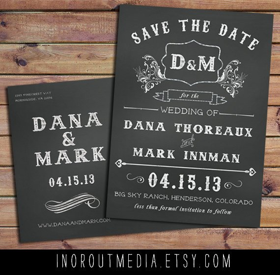 Chalkboard Save the Date Cards {In or Out Media-Etsy Shop}