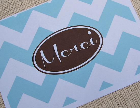 "Free Printable ""Merci"" Thank You Notecard- January Printable of the Month {The Creativity Exchange}"