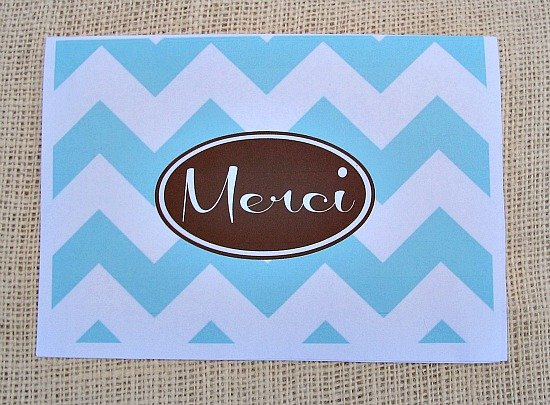 "Free Printable ""Merci"" Thank You Notecard {January Printable of the Month} The Creativity Exchange"