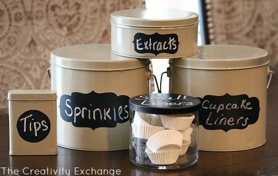 Spray Paint old Christmas tins & candle jars to create small storage containers {The Creativity Exchange}