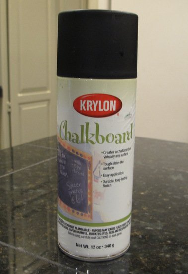 Krylon Chalkboard Paint- Awesome product and a little goes a long way.