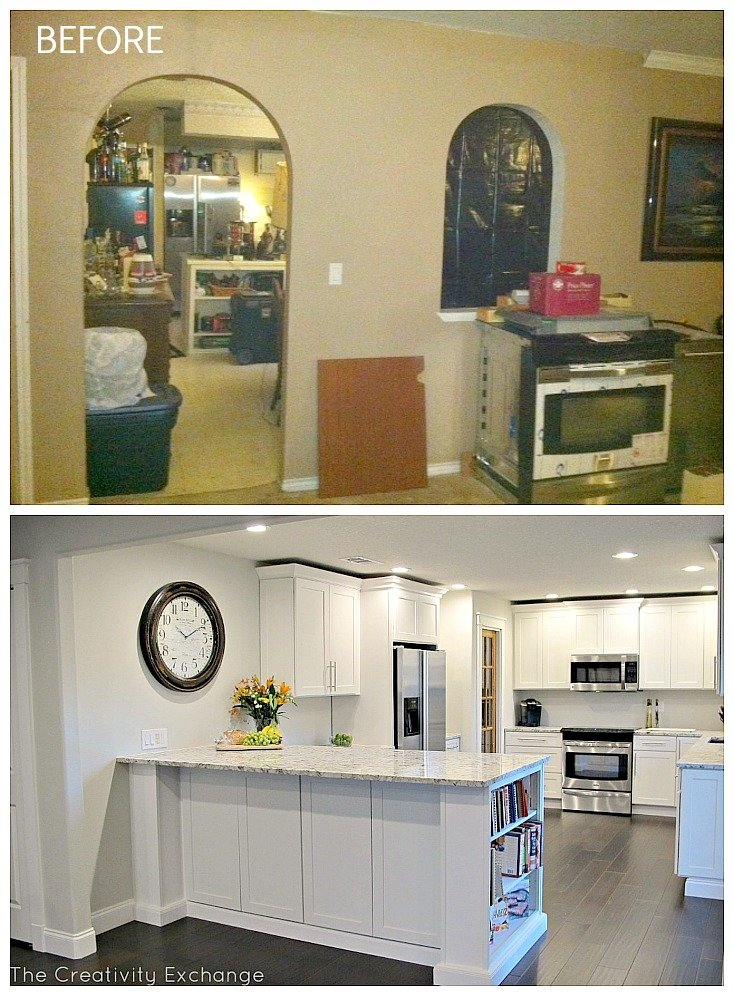 Amazing before and after kitchen renovation.