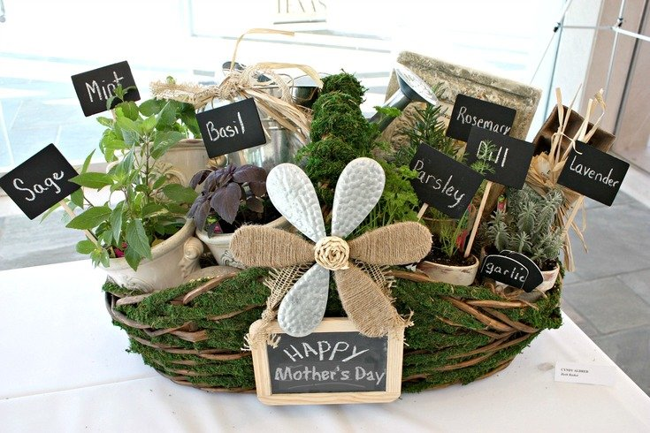 DIY herb filled moss basket for Mother's Day.