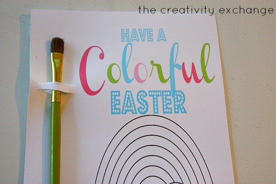 Free printable kid's watercolor Easter & Birthday card. Just color in circles with washable markers and add a brush.  Washable markers turn into watercolors when wet