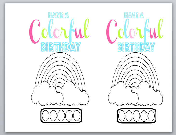 Free printable watercolor Birthday card.  Just add a brush and color in circles with washable markers that turn into watercolors when wet.