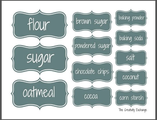 Organize a baking cabinet with free printable pantry labels for Kitchen cabinets lowes with free custom stickers