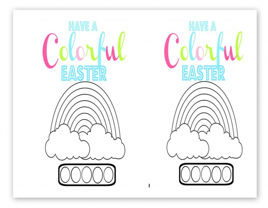 Free printable kid's watercolor card for Easter.  Just add a brush and color circles with washable markers that will turn into watercolors when wet.