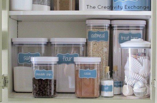 Organize a baking cabinet with these free printable labels {The Creativity Exchange}