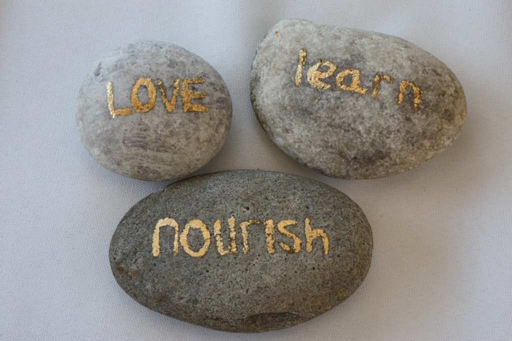 DIY Gold Leaf Words for Garden rocks
