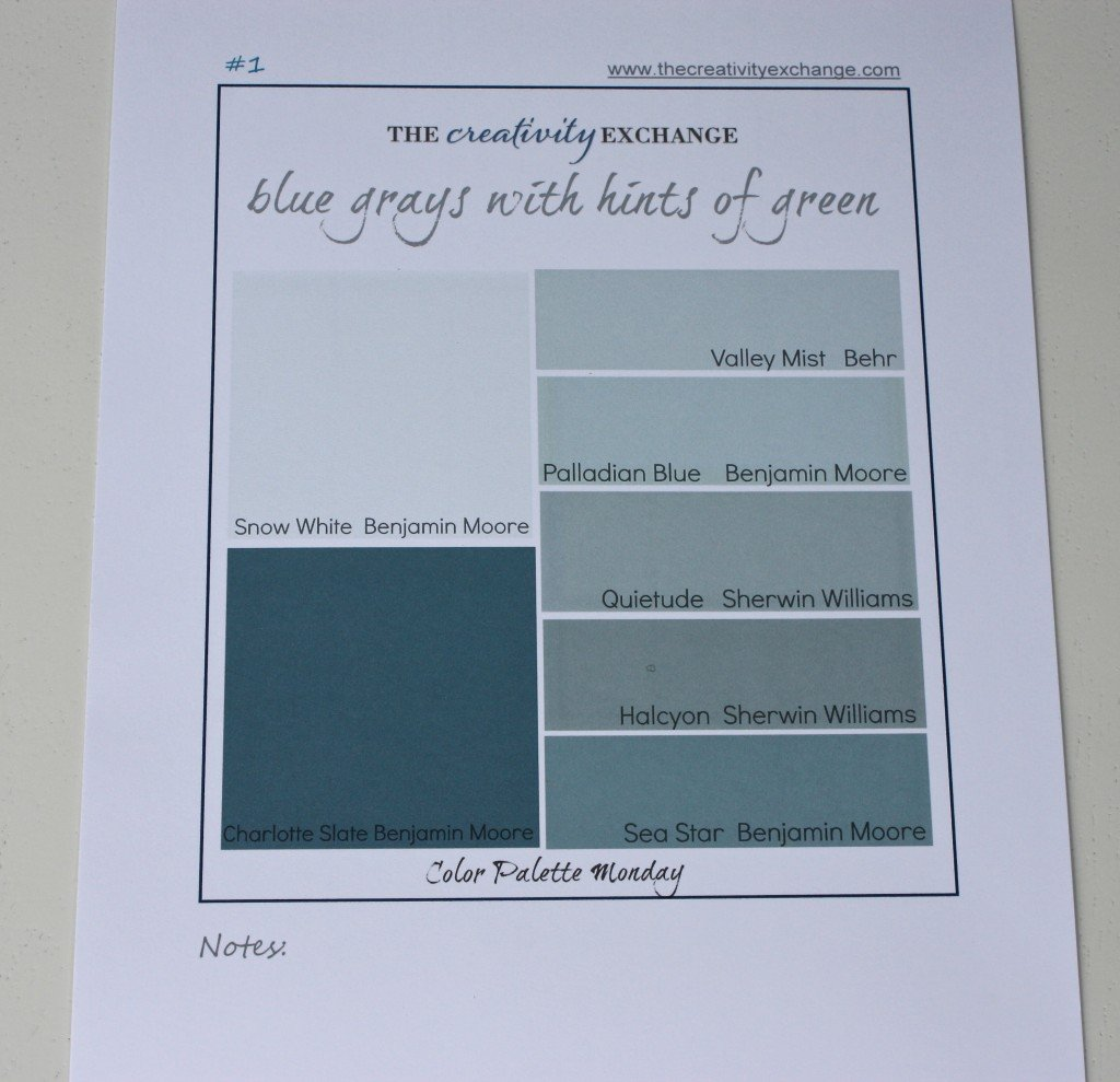 Printable Color Palette Of Great Gray Blue Greens Monday The