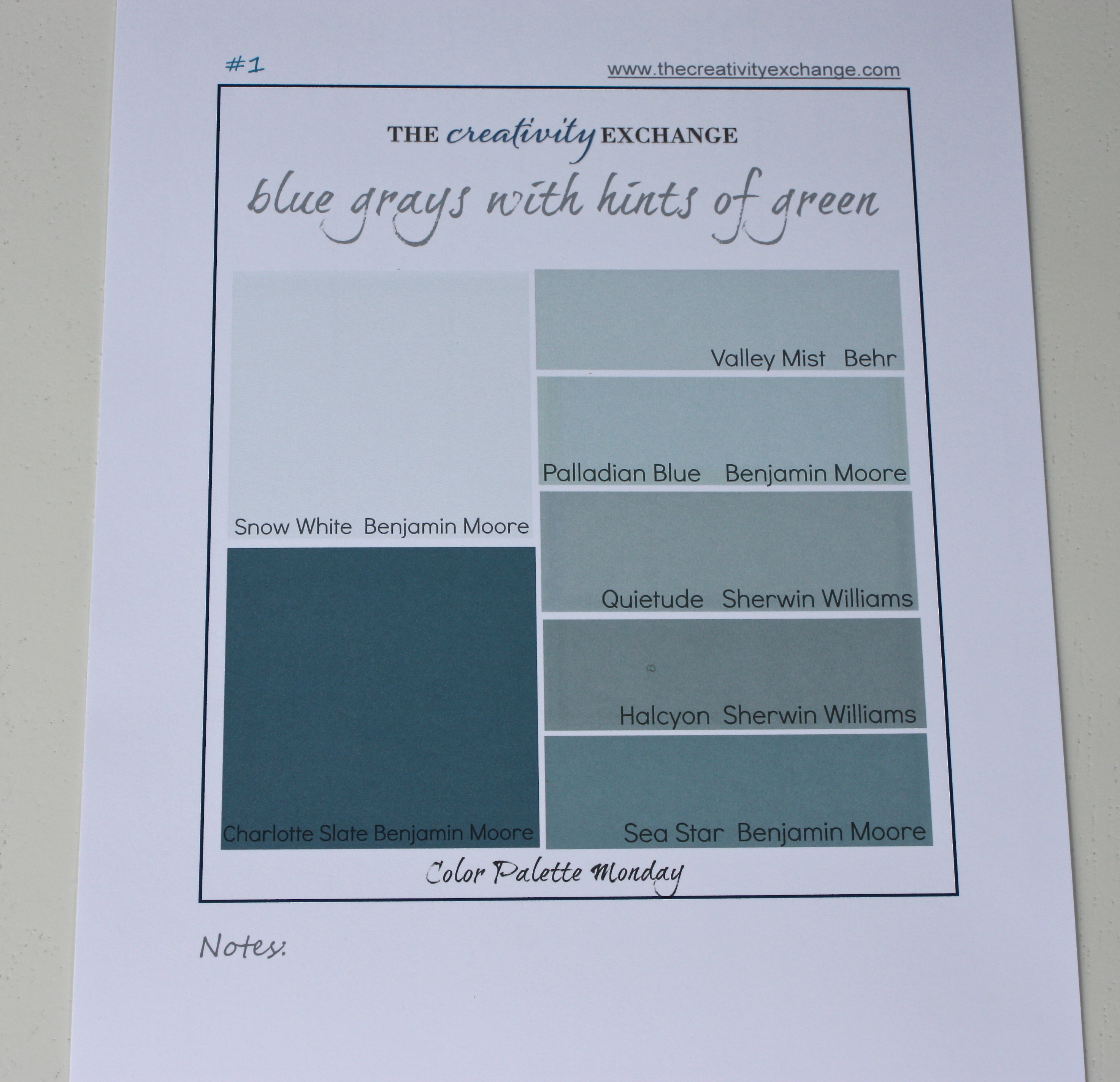 Benjamin moore palladian blue bathroom - Printable Color Palette Of Great Gray Blue Greens Color Palette Monday The