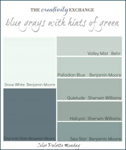Printable color palette of gray blues with hints of green (Color Palette Monday) The Creativity Exchange