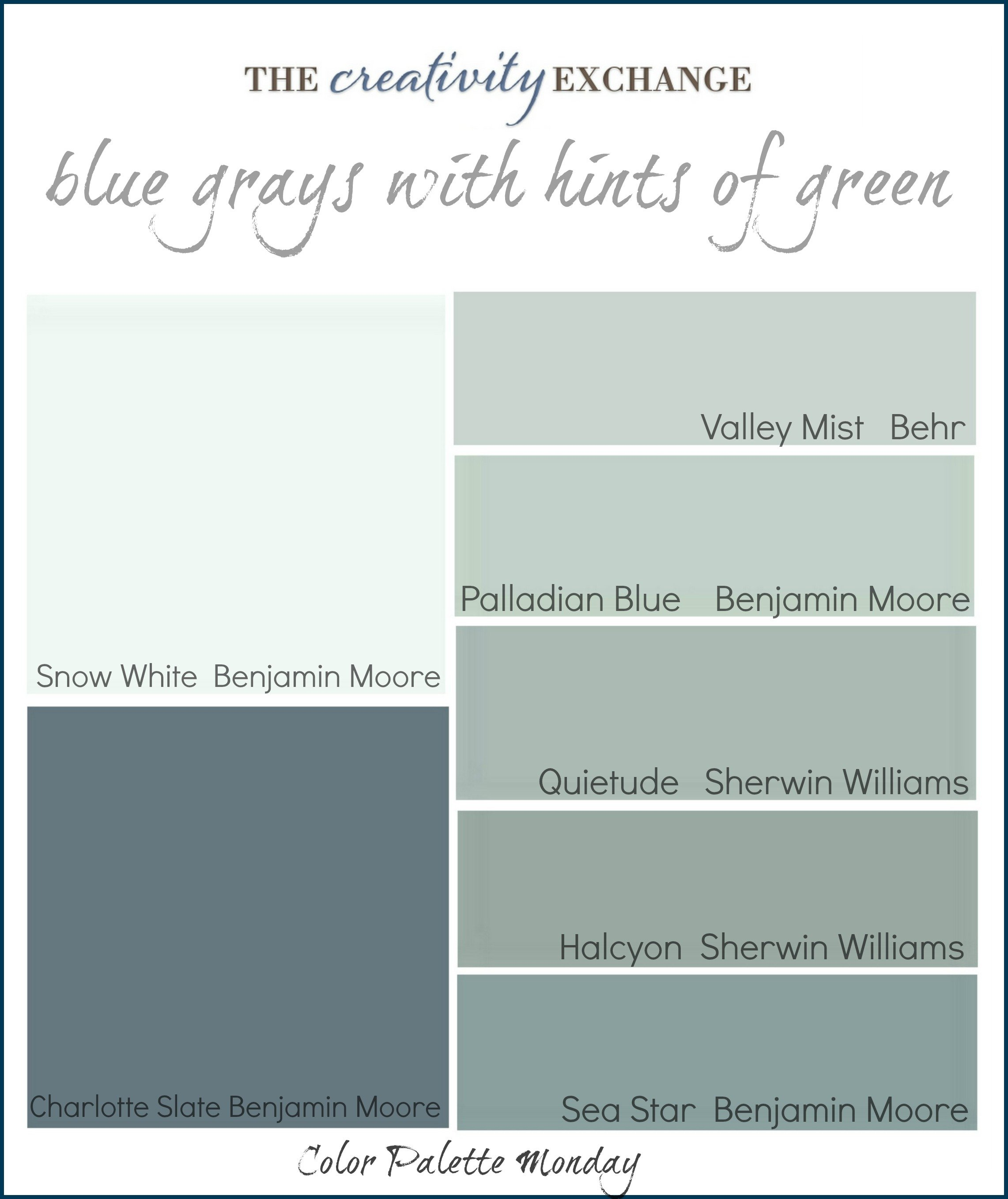 Gray Green Paint color palette monday (#1)