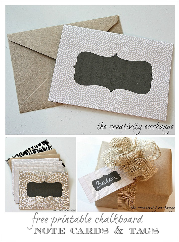free printable chalkboard note cards and tags.  The Creativity Exchange