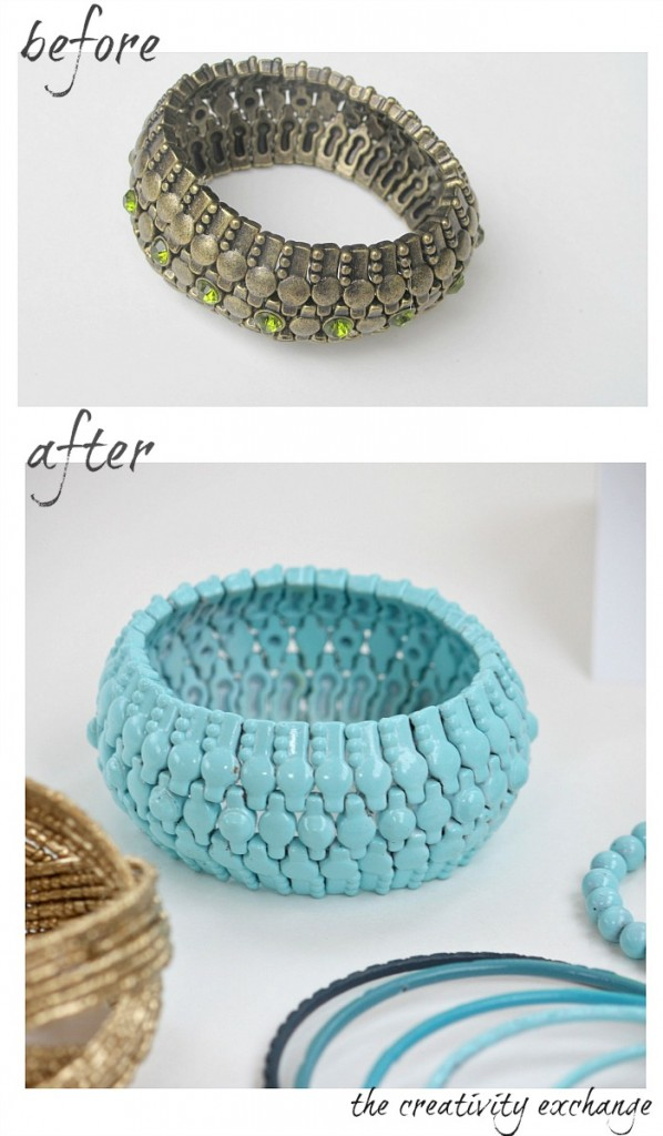 Tutorial for how to revamp old junk jewelry with enamel spray paint {The Creativity Exchange}