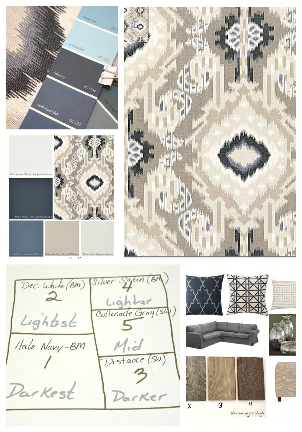Choosing a room color scheme with fabric.