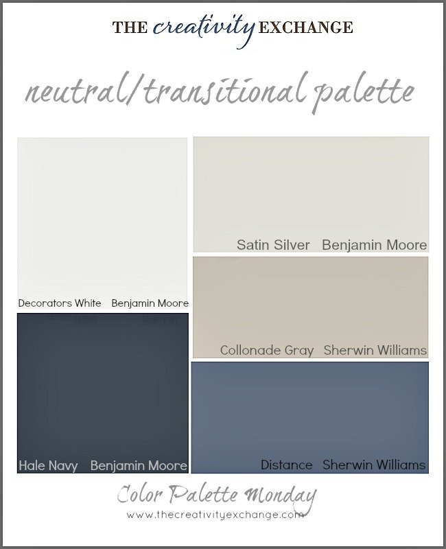 Color palette of neutral-transitional paint colors {Color Palette Monday} The Creativity Exchange